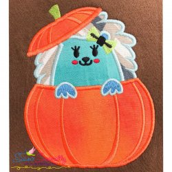 Hedgehog Girl Peeking Pumpkin Applique Design