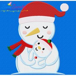 Snowman Mom And Baby Embroidery Design