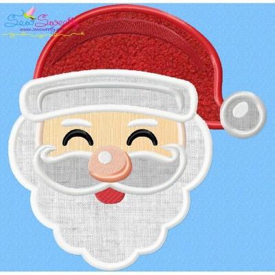 Happy Santa Face Applique Design