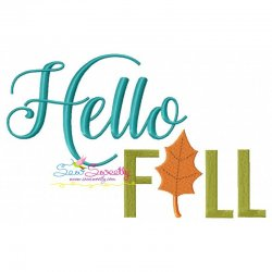 Hello Fall Embroidery Design