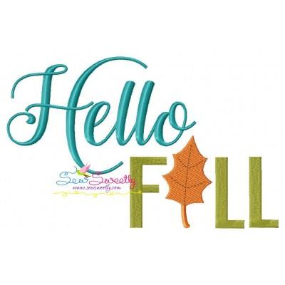 Hello Fall Lettering Embroidery Design