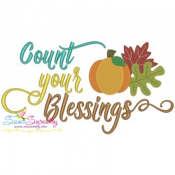 Count Your Blessings Lettering Embroidery Design