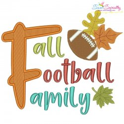 Fall Football Family Lettering Embroidery Design