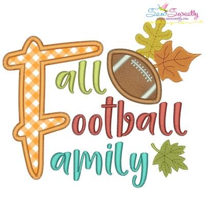 Fall Football Family Lettering Applique Design