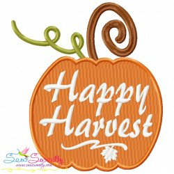Happy Harvest Pumpkin Lettering Embroidery Design