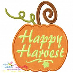 Happy Harvest Pumpkin Lettering Applique Design