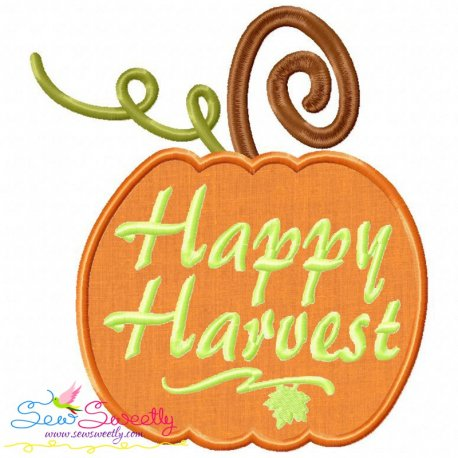 Happy Harvest Pumpkin Lettering Applique Design Pattern- Category- Fall And Thanksgiving- 1