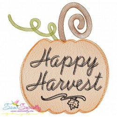 Happy Harvest Pumpkin Sketch Lettering Embroidery Design