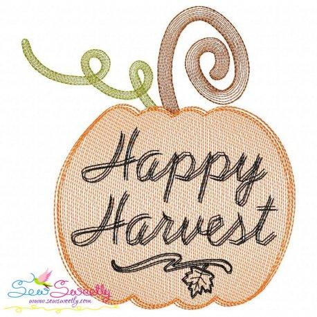 Happy Harvest Pumpkin Sketch Embroidery Design