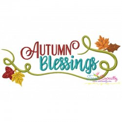 Autumn Blessings Lettering Embroidery Design