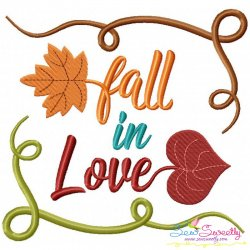 Fall in Love-2 Lettering Embroidery Design