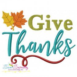 Give Thanks-2 Lettering Embroidery Design