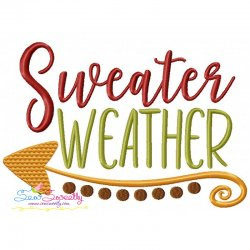 Free Sweater Weather Lettering Embroidery Design- Category- Fall And Thanksgiving- 1