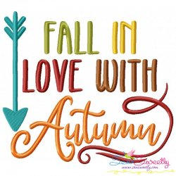 Fall in Love With Autumn Lettering Embroidery Design