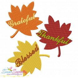 Grateful Thankful Blessed Leaves Lettering Embroidery Design