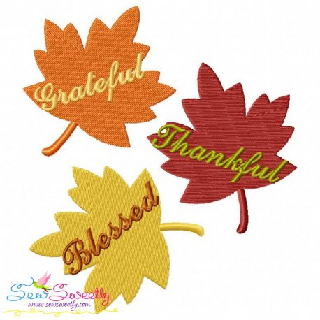 Grateful Thankful Blessed Leaves Embroidery Design