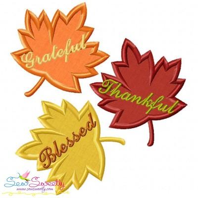 Grateful Thankful Blessed Leaves Lettering Applique Design