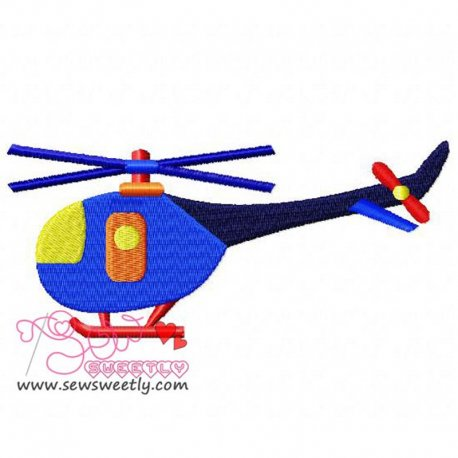Blue Helicopter Embroidery Design