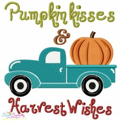 Pumpkin Kisses and Harvest Wishes Lettering Embroidery Design