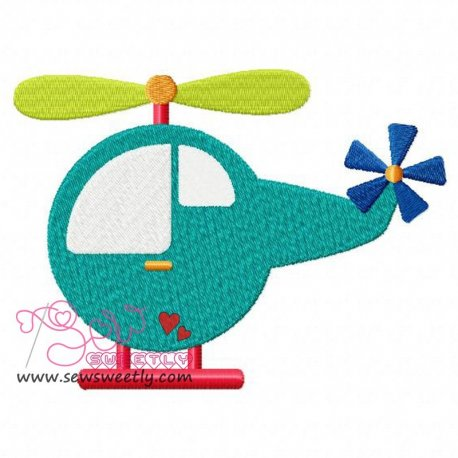 Helicopter-1 Embroidery Design Pattern- Category- Aviation Designs- 1