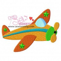 Retro Plane Embroidery Design