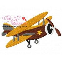 Retro Stunt Plane Embroidery Design