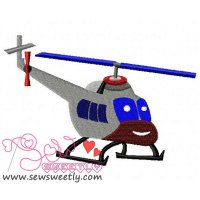 Smiling Helicopter Embroidery Design
