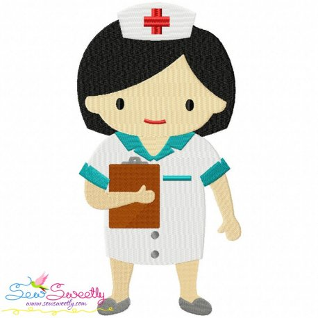 Little Girl Nurse Embroidery Design