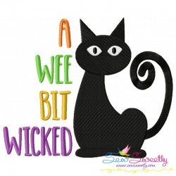 A Wee Bit Wicked Cat Lettering Embroidery Design