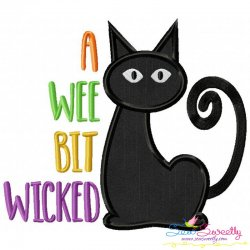 A Wee Bit Wicked Cat Lettering Applique Design