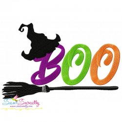 Boo Broom Lettering Embroidery Design
