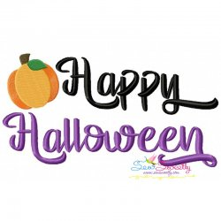 Happy Halloween Pumpkin Lettering Embroidery Design