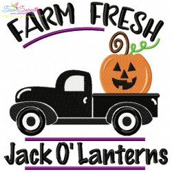 Farm Fresh Jack O'Lanterns Lettering Embroidery Design