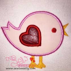 Cute Valentine Bird Applique Design