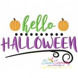 Hello Halloween Lettering Embroidery Design