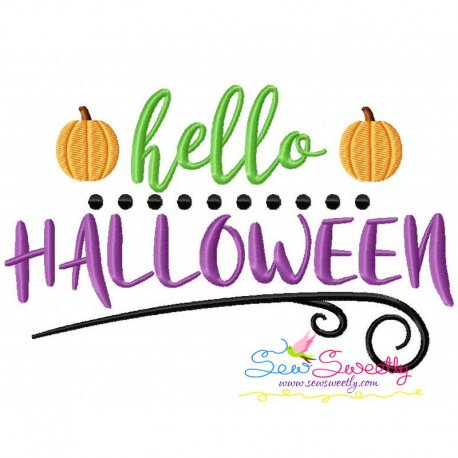 hello halloween machine embroidery design for halloween