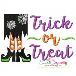 Trick or Treat Witch Legs Lettering Embroidery Design