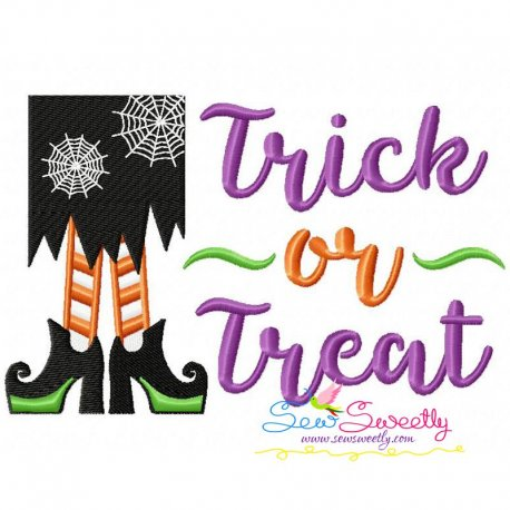 Trick or Treat Witch Legs Embroidery Design