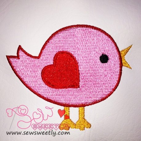 Cute Valentine Bird Embroidery Design