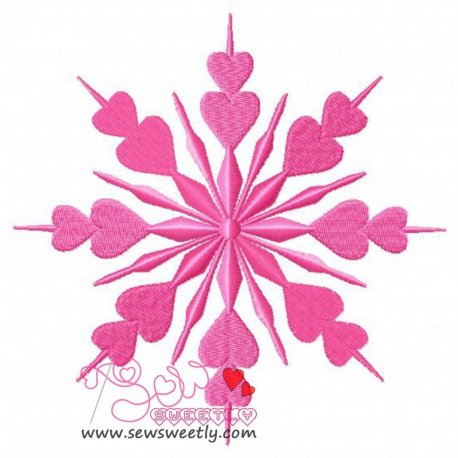 Heart Snowflake Embroidery Design
