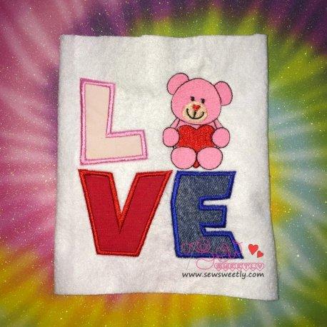 Valentine Teddy Bear Love Applique Design
