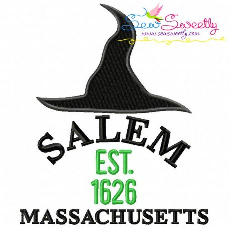 Salem Witch Hat Lettering Embroidery Design Pattern- Category- Halloween Designs- 1
