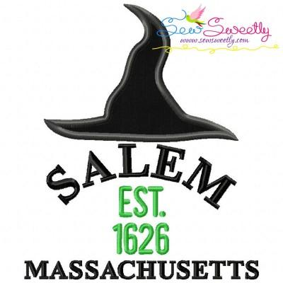 Salem Witch Hat Lettering Applique Design