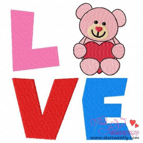 Valentine Teddy Bear Love Embroidery Design