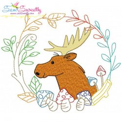 Fall Animal Frame- Moose Embroidery Design