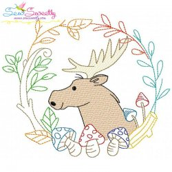 Fall Animal Frame- Moose Sketch Embroidery Design