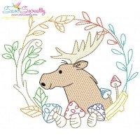 Fall Animal Frame- Moose Sketch Embroidery Design