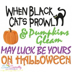 When Black Cats Prowl Lettering Embroidery Design For Halloween