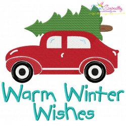 Warm Winter Wishes Lettering Christmas Tree Car Embroidery Design