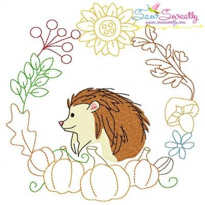 Fall Animal Frame- Hedgehog Embroidery Design